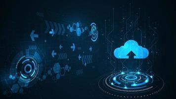interfaccia di trasferimento dati digitale tramite cloud. vettore