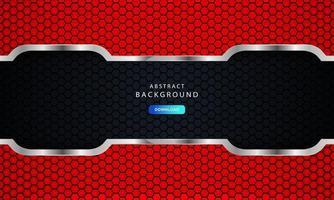 astratto rosso scuro su linee metalliche con motivo a maglie esagonali vettore