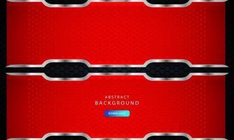 sfondo esagonale nero scuro con decorazioni a liste rosse e argento. vettore