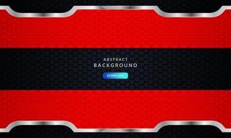 sfondo di metallo astratto esagonale rosso con effetto contorno argento vettore