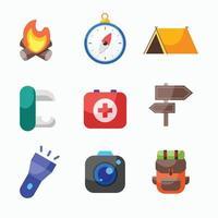 set di icone campeggio vettore