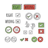 Vettore di segni giusti o sbagliati