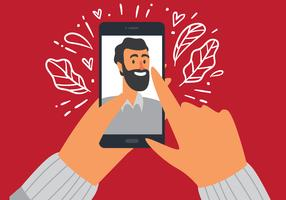 selfie uomo su smartphone vettore