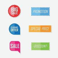 banner offerta design etichetta elementi piatti. illustrazione vettoriale