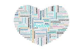 il cuore delle parole di pensiero positivo per la comunicazione e l'affermazione. vettore