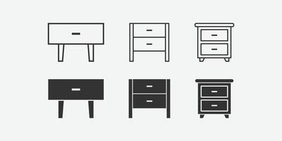 illustrazione vettoriale di comodino isolato icona set.