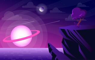 illustrazione vettoriale di paesaggio di fantasia