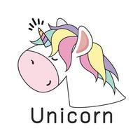 testa di unicorno carino. disegno vettoriale