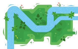 Illustrazione del fiume di vista superiore di vettore