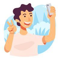 Illustrazione di selfie vettore