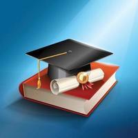 cappello di laurea realistico e concetto di diploma vettore