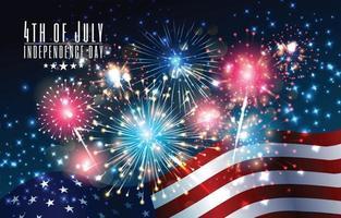 Fuochi d'artificio e bandiera del 4 luglio del giorno dell'indipendenza vettore