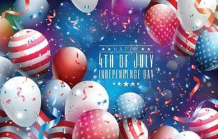 felice 4 luglio giorno dell'indipendenza sfondo vettore