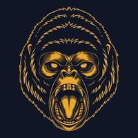 arrabbiato gorilla oro illustrazione vettoriale