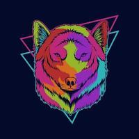 illustrazione vettoriale colorato testa di lupo