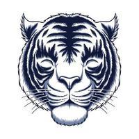 illustrazione vettoriale testa di tigre bianca