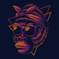 illustrazione vettoriale di madre gorilla occhiali da vista