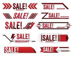 vendita banner rosso promozione tag design per il marketing vettore