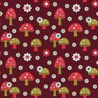 funghi e margherita retrò seamless pattern su sfondo rosso scuro vettore