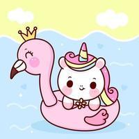 fiore della holding di vettore di unicorno carino con gomma fenicottero in sfondo di animali kawaii del fumetto di estate del cavallino marino
