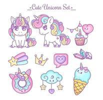 unicorno carino imposta colori pastello vettore