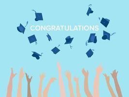 cappello di cerimonia di laurea gettando sul vettore grafico illustrazione