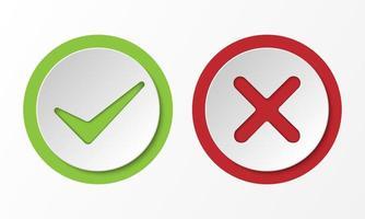 segno corretto e non corretto, segno di spunta stile 3d, illustrazione vettoriale