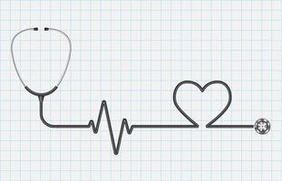 stetoscopio realistico e cuore isolato su sfondo carta millimetrata, concetto di cure mediche, illustrazione vettoriale