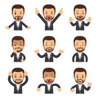 insieme del fumetto delle facce di uomo d'affari che mostrano emozioni diverse vettore