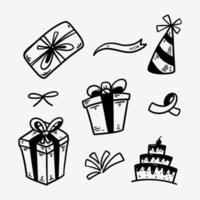 confezione regalo compleanno doodle set sagoma disegnata a mano vettore