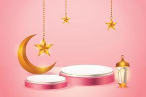 Esposizione del prodotto 3d islamico a tema podio rosa e bianco con falce di luna, lanterna e stella per il ramadan vettore