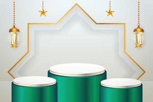 Prodotto 3d display islamico a tema podio verde e bianco con lanterna e stella per il ramadan vettore