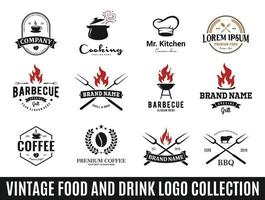 collezione di logo di cibo o ristorante vettore