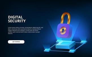 La sicurezza del lucchetto 3D per la tecnologia Internet cyber protegge le informazioni oi dati digitali con uno sfondo scuro vettore