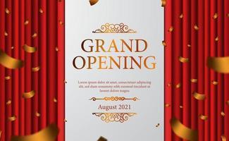 tenda rossa palcoscenico vintage lusso elegante grande inaugurazione con modello di banner poster coriandoli dorati vettore