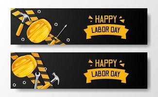 felice festa del lavoro. giornata internazionale dei lavoratori. ingegnere dipendente con casco giallo di sicurezza 3d e martello, cacciavite, chiave inglese e linea gialla, con sfondo nero. modello di volantino banner vettore