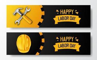 felice festa del lavoro. giornata internazionale dei lavoratori. ingegnere dipendente con casco giallo di sicurezza 3d e martello, chiave inglese, con sfondo nero. modello di volantino banner vettore