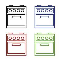 Icona del forno su priorità bassa bianca vettore