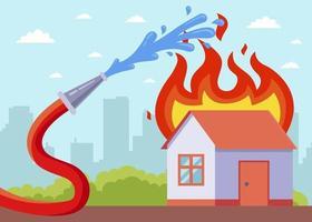 una casa in fiamme con una manichetta antincendio che aiuta vettore