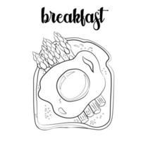 contorno del pane tostato con uovo e asparagi, schizzo vettore