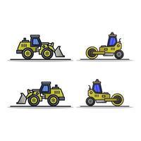 escavatore e icona del rullo su priorità bassa bianca vettore