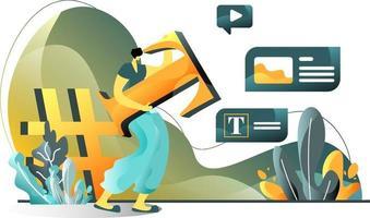 concetto di illustrazione piatta del contenuto del blog di uomini che creano siti Web di blog, video, immagini, perfetti per pagine di destinazione, modelli, interfaccia utente, web, app per dispositivi mobili, poster, banner, volantini. vettore