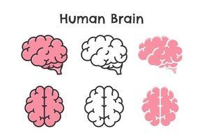 simbolo ondulato di vettore del cervello umano di intelligenza di apprendimento e un atteggiamento ottimista