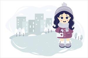 una ragazza carina all'aperto durante l'inverno vettore