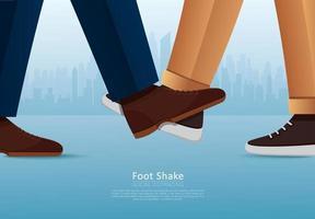 persone che salutano con i piedi. scuotere i piedi. saluto sicuro per prevenire il coronavirus covid-19 vettore