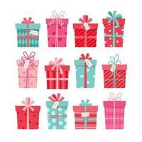 collezione regalo di San Valentino, set di scatole diverse. illustrazione vettoriale in stile piatto