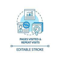 pagina visitata e visita ripetuta icona blu del concetto vettore