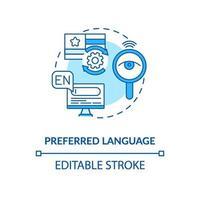 icona del concetto di lingua preferita blu vettore