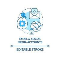 icona di concetto blu di account di posta elettronica e social media vettore