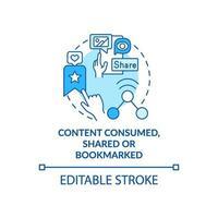 contenuto consumato, condiviso, icona del concetto blu con segnalibro vettore